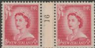 NZ Counter Coil Pair SG 730 1953 8d Queen Elizabeth II Join No. 16 (NCC/205)